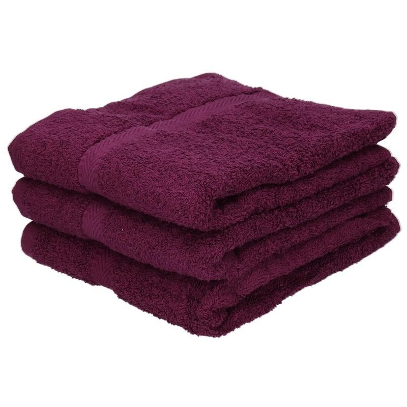 3x luxe handdoeken bordeaux 50 x 90 cm 550 grams