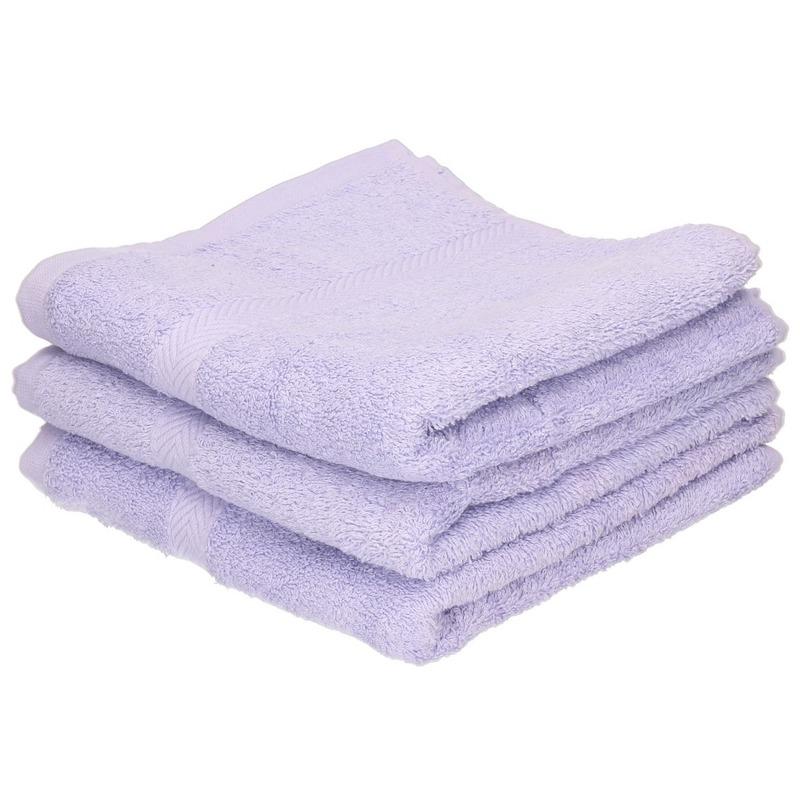 3x luxe handdoeken lila paars 50 x 90 cm 550 grams