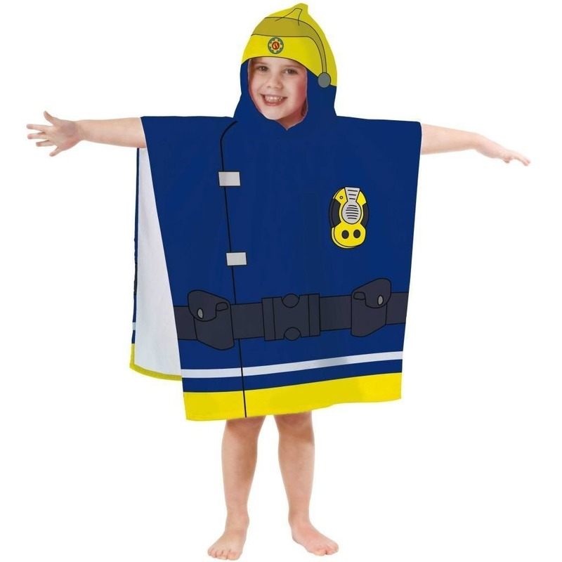 Brandweerman sam badponcho handdoek 60 x 120 cm