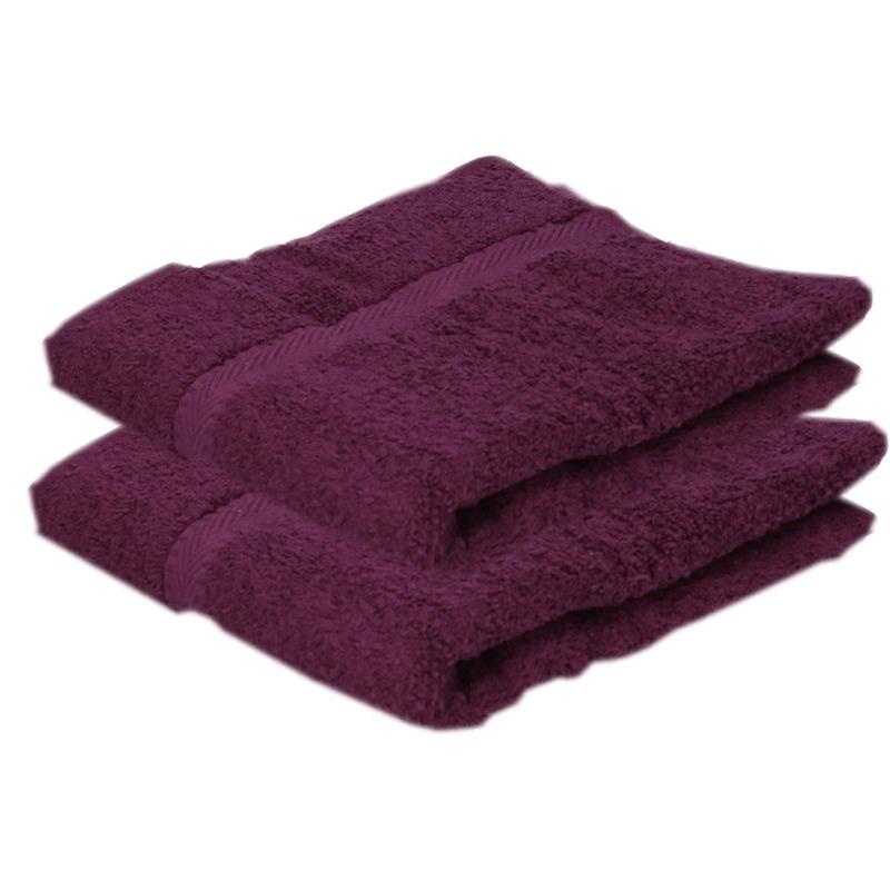 2x luxe handdoeken bordeaux 50 x 90 cm 550 grams