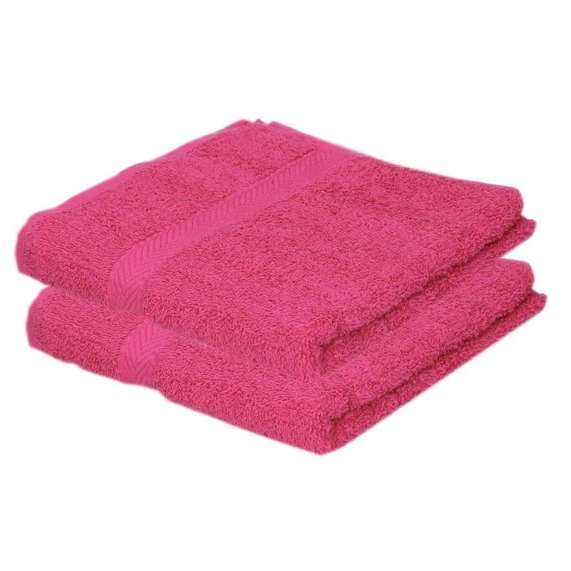 2x luxe handdoeken fuchsia roze 50 x 90 cm 550 grams
