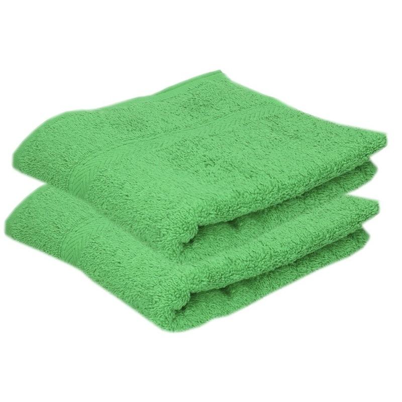 2x luxe handdoeken groen 50 x 90 cm 550 grams