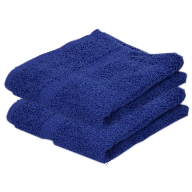 2x luxe handdoeken blauw 50 x 90 cm 550 grams