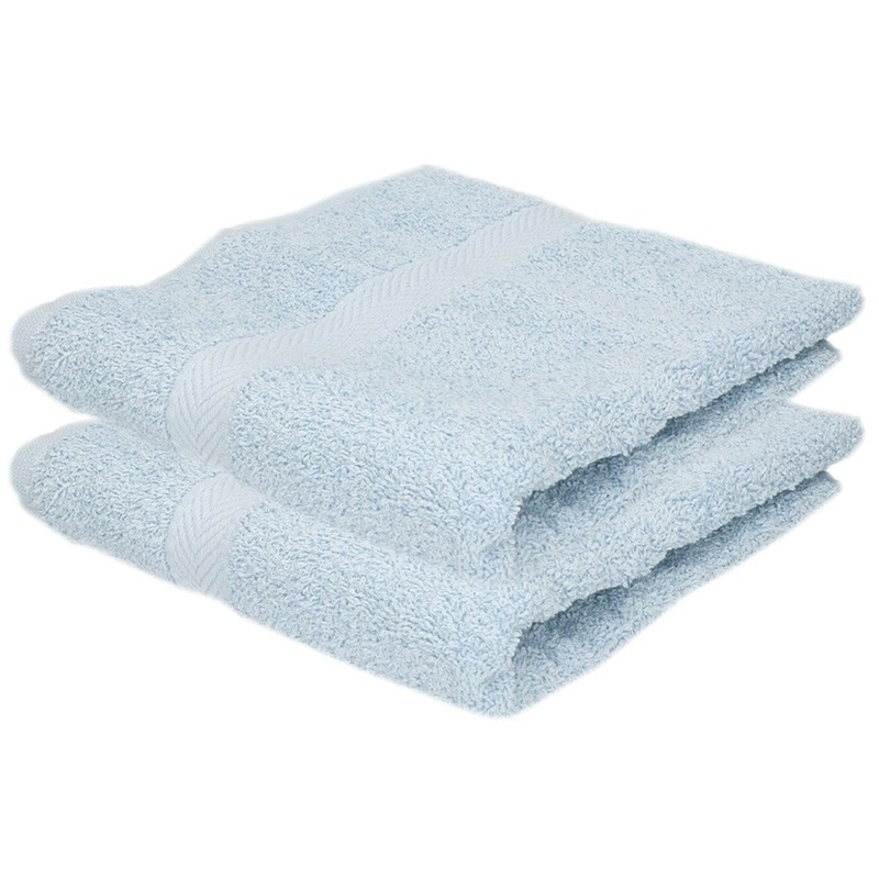 2x luxe handdoeken lichtblauw 50 x 90 cm 550 grams