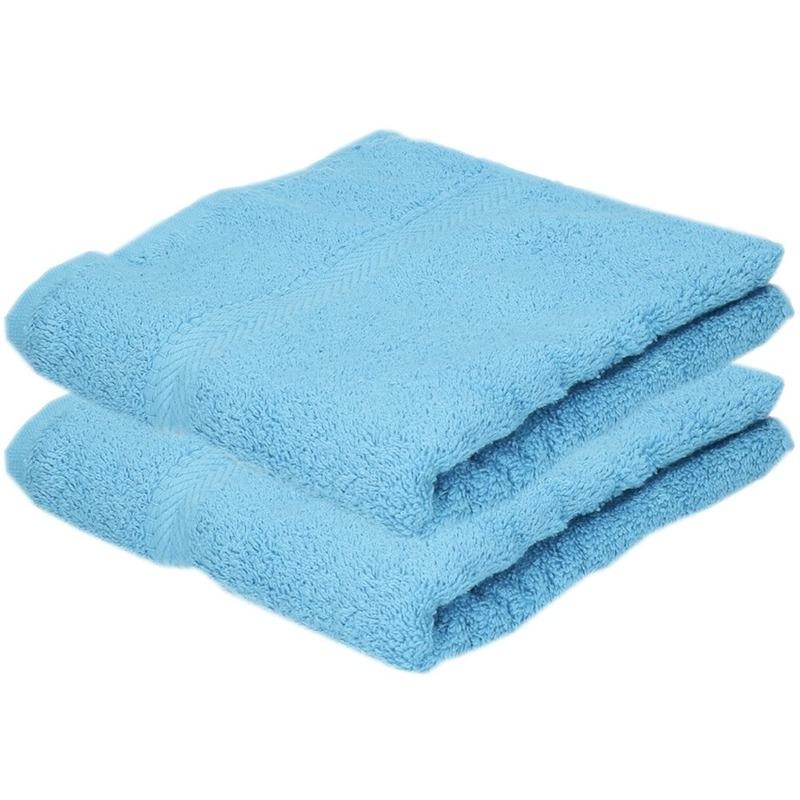 2x luxe handdoeken turquoise 50 x 90 cm 550 grams