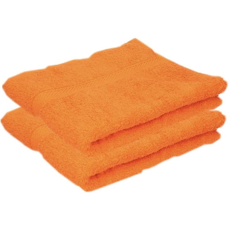 2x luxe handdoeken oranje 50 x 90 cm 550 grams