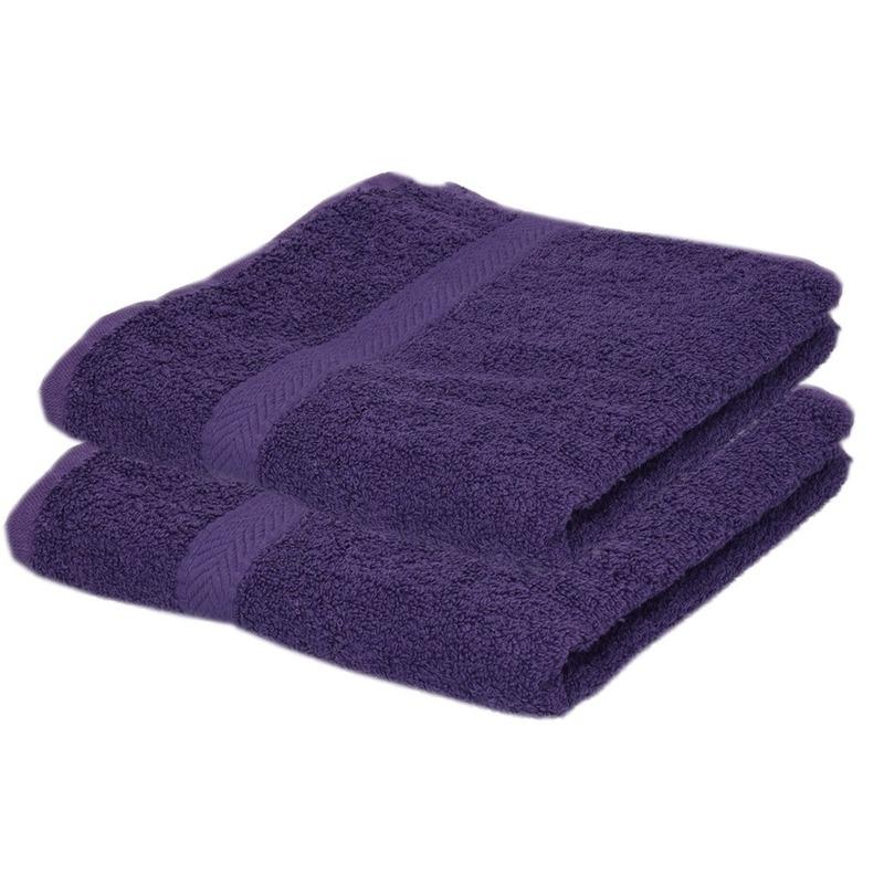 2x luxe handdoeken paars 50 x 90 cm 550 grams