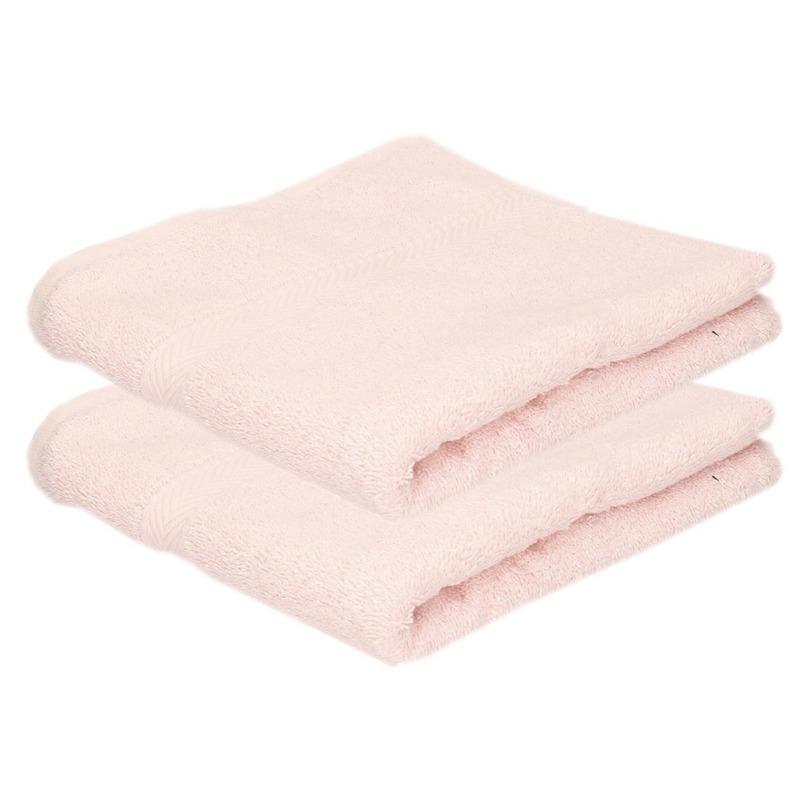 2x luxe handdoeken licht roze 50 x 90 cm 550 grams