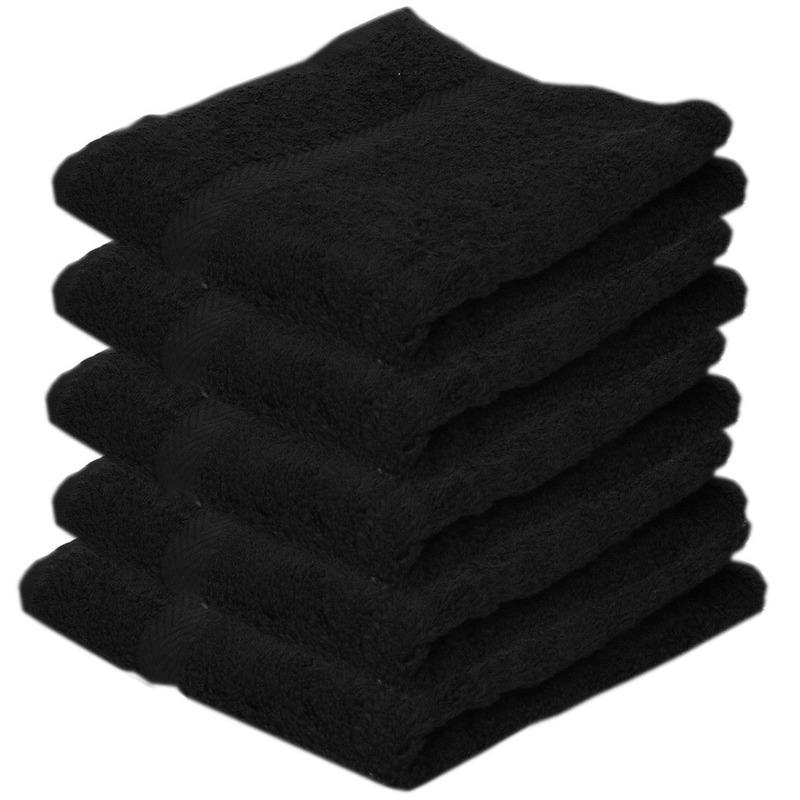 5x luxe handdoeken zwart 50 x 90 cm 550 grams