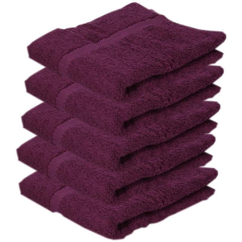 5x luxe handdoeken bordeaux 50 x 90 cm 550 grams