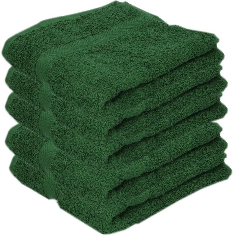 5x luxe handdoeken donkergroen 50 x 90 cm 550 grams