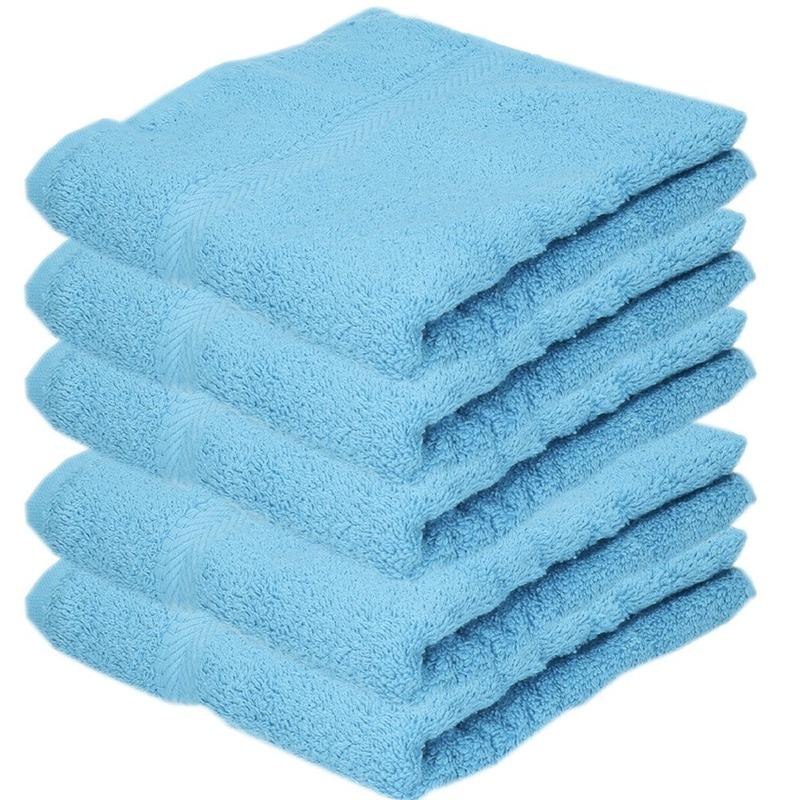 5x luxe handdoeken turquoise 50 x 90 cm 550 grams
