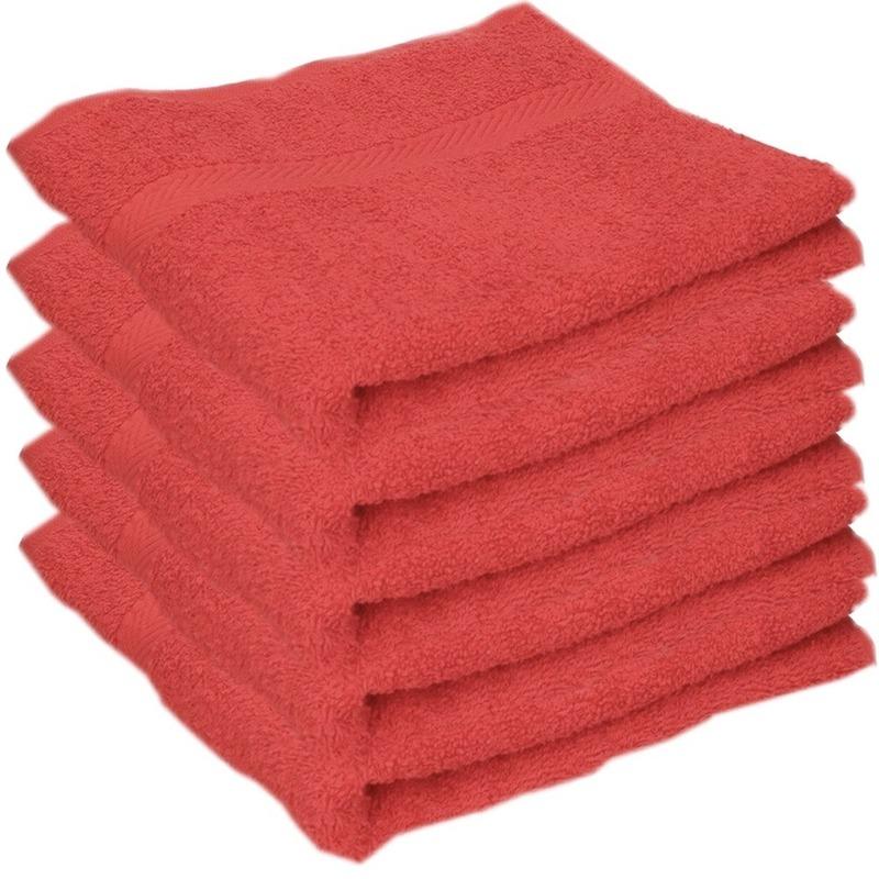 5x luxe handdoeken rood 50 x 90 cm 550 grams