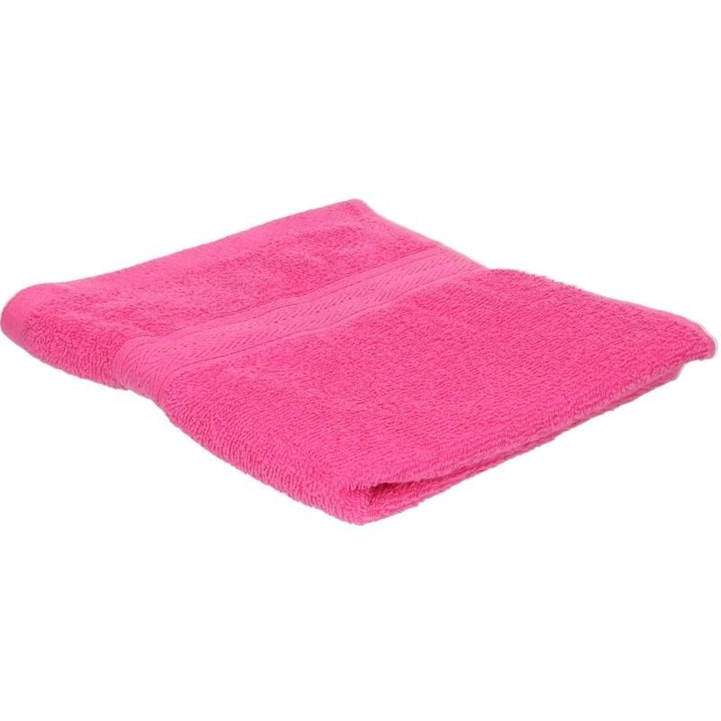 Voordelige handdoek fuchsia roze 50 x 100 cm 420 grams