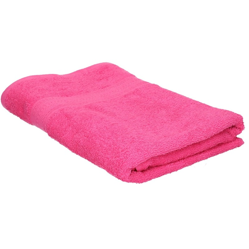 Voordelige badhanddoek fuchsia roze 70 x 140 cm 420 grams