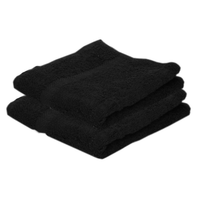 2x voordelige handdoeken zwart 50 x 100 cm 420 grams