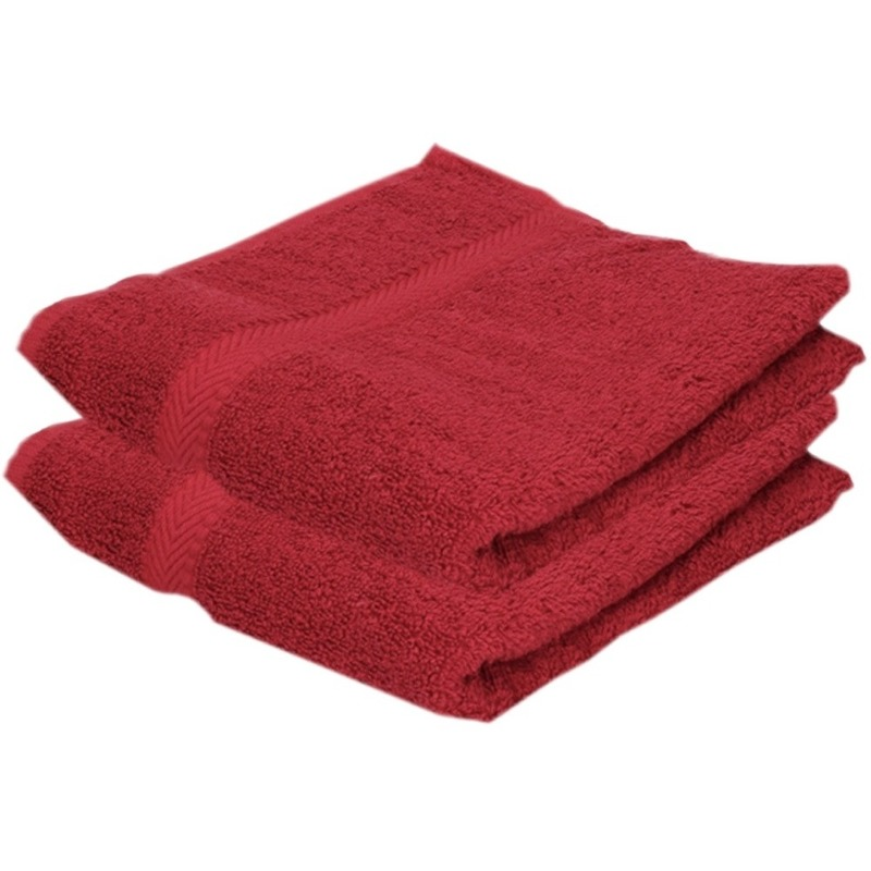 2x voordelige handdoeken rood 50 x 100 cm 420 grams
