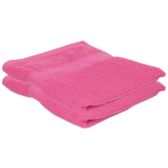 2x voordelige handdoeken fuchsia roze 50 x 100 cm 420 grams