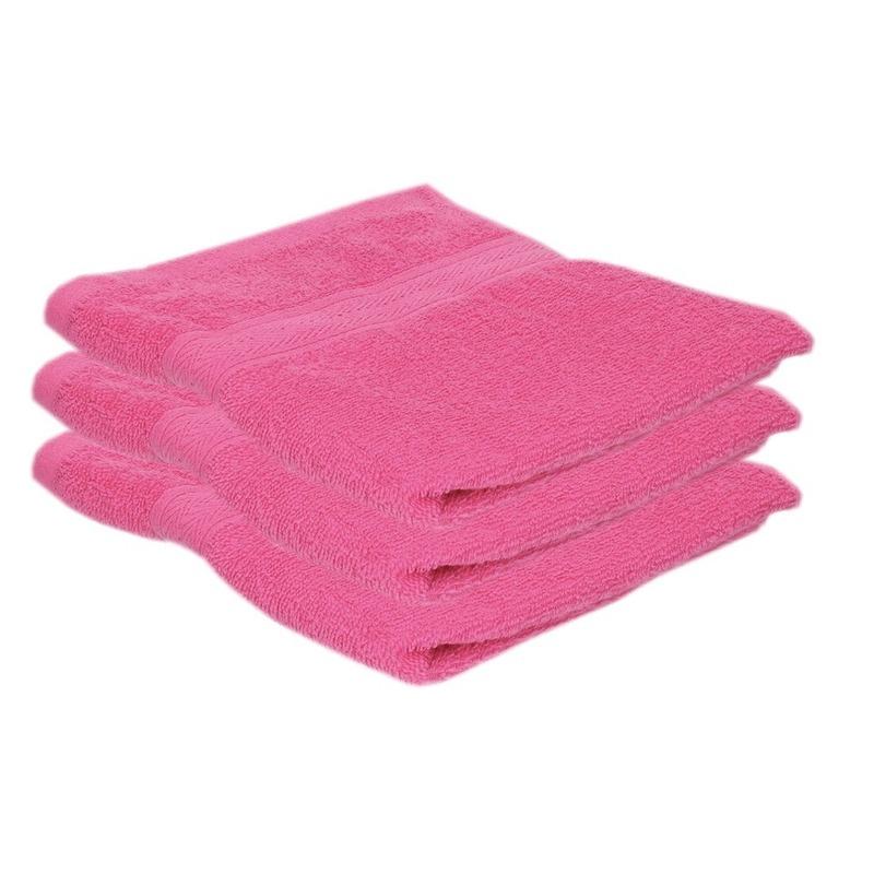 3x voordelige handdoeken fuchsia roze 50 x 100 cm 420 grams