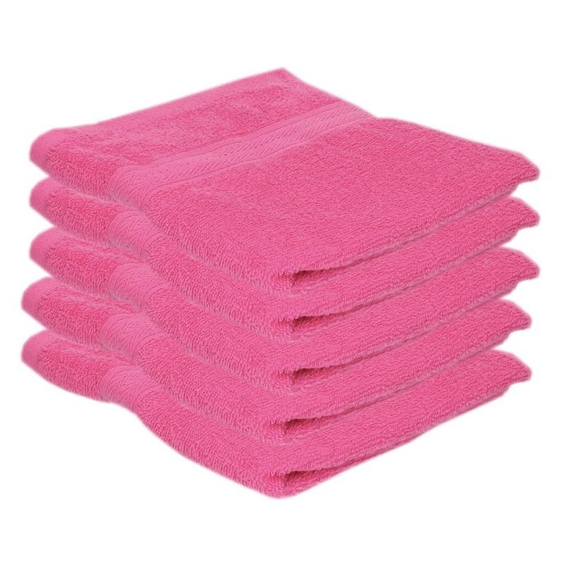 5x voordelige handdoeken fuchsia roze 50 x 100 cm 420 grams