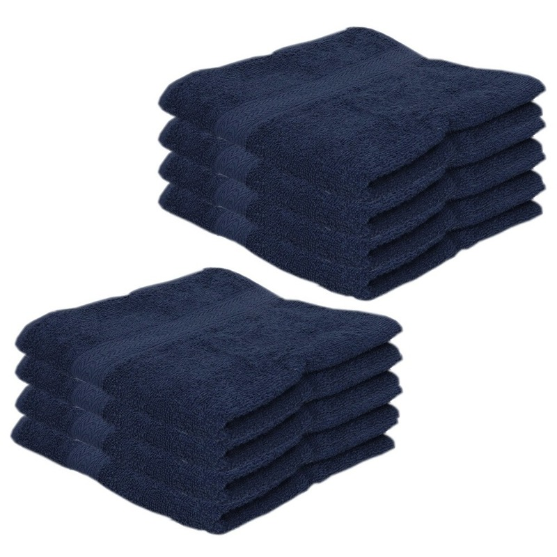 8x voordelige handdoeken navy blauw 50 x 100 cm 420 grams