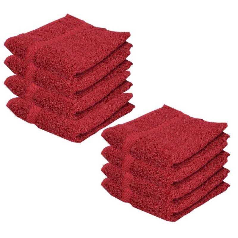 8x voordelige handdoeken rood 50 x 100 cm 420 grams