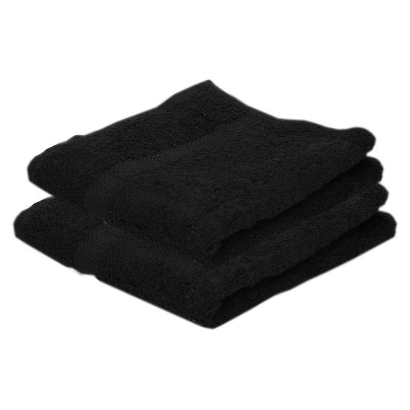 2x voordelige badhanddoeken zwart 70 x 140 cm 420 grams
