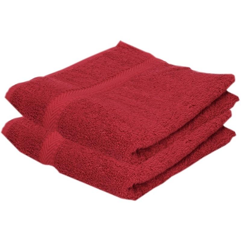 2x voordelige badhanddoeken rood 70 x 140 cm 420 grams
