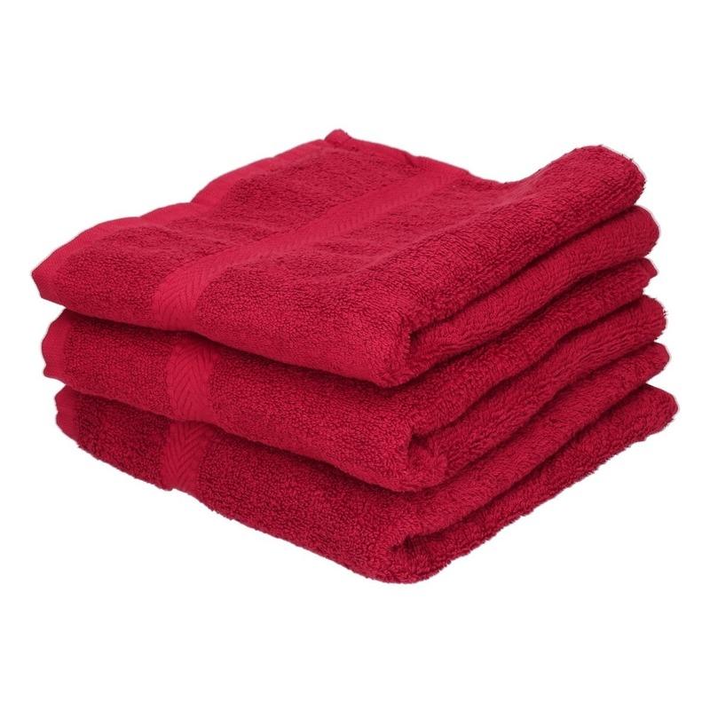 3x voordelige badhanddoeken rood 70 x 140 cm 420 grams