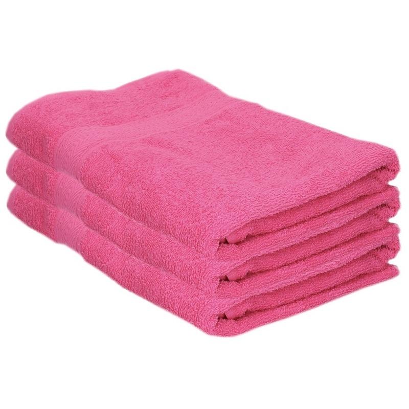 3x voordelige badhanddoeken fuchsia roze 70 x 140 cm 420 grams