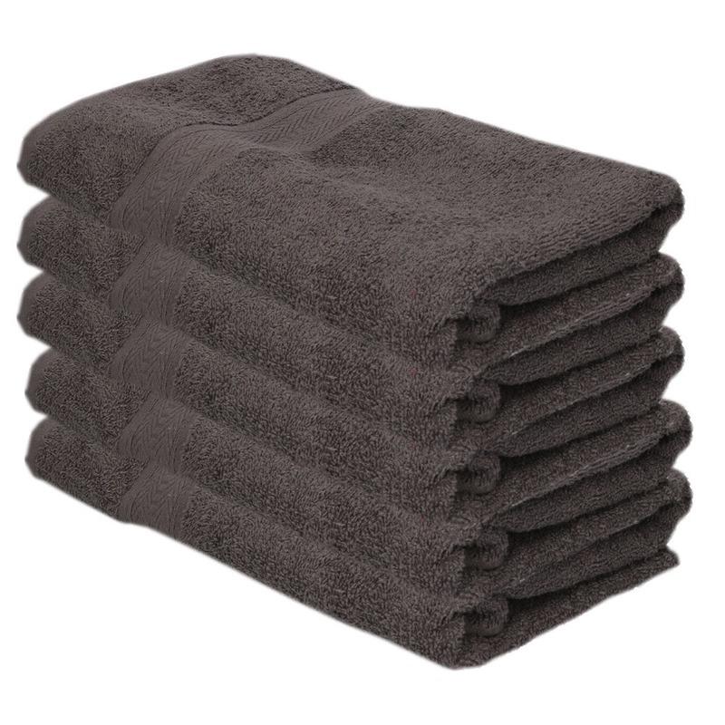 5x voordelige badhanddoeken grijs 70 x 140 cm 420 grams