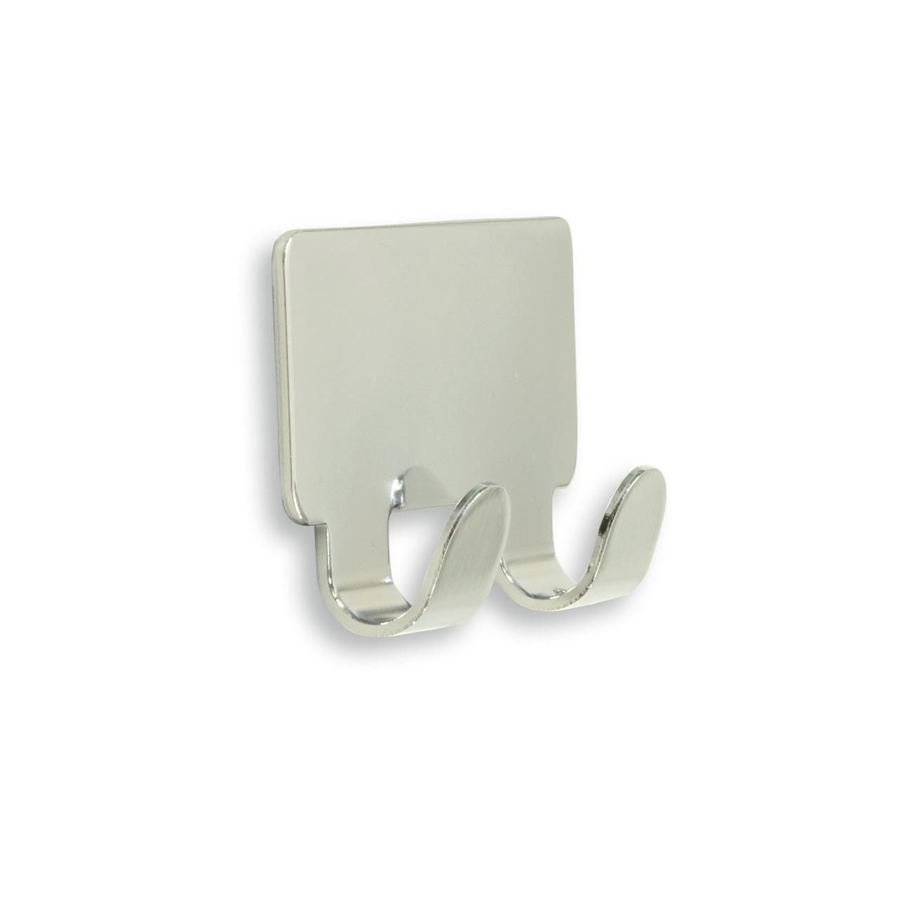 1x luxe plakhaken handdoekhaken vierkant chroom glanzend dubbele haak 4 2 x 7 2 cm