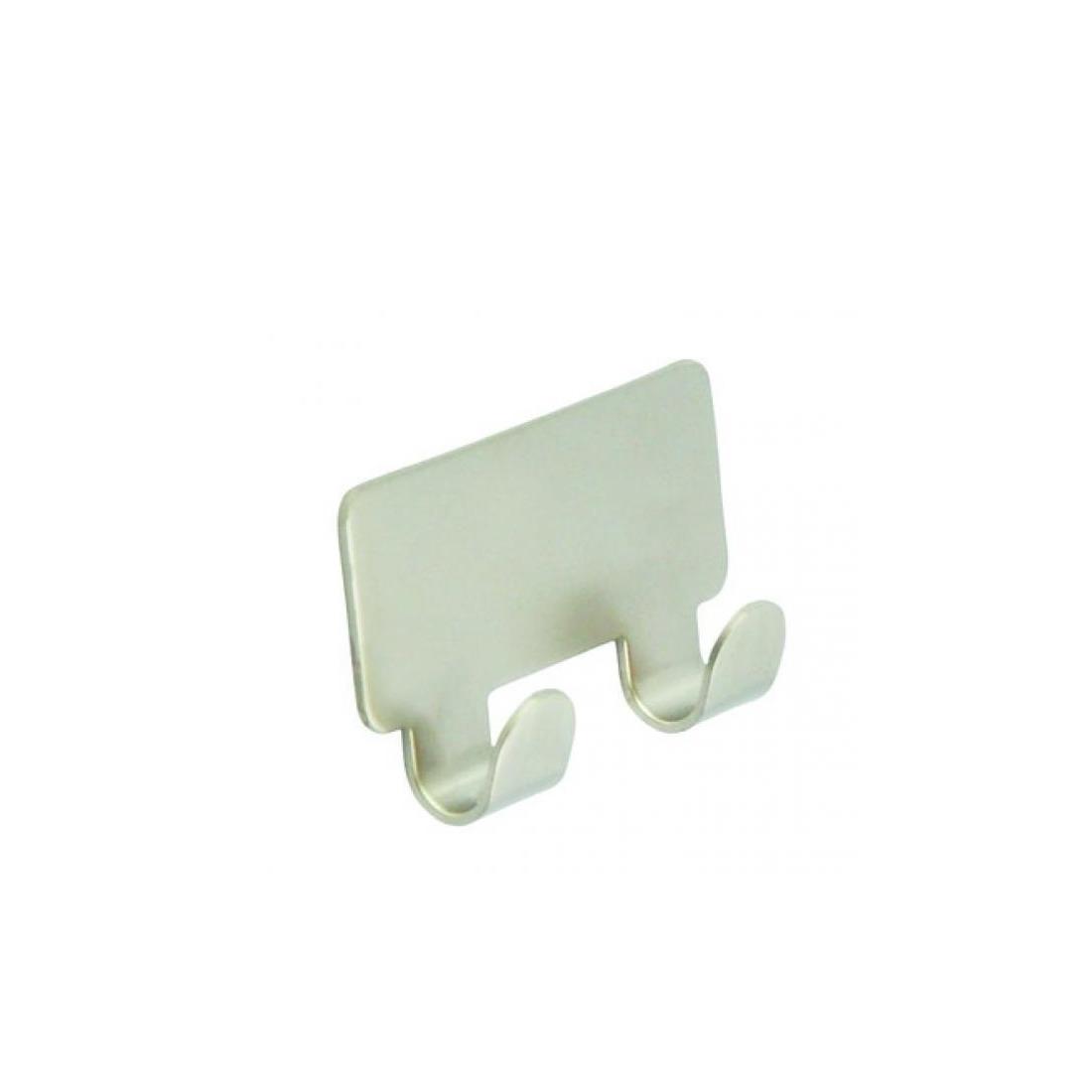 1x luxe plakhaken handdoekhaken vierkant nikkel mat dubbele haak 4 2 x 7 2 cm