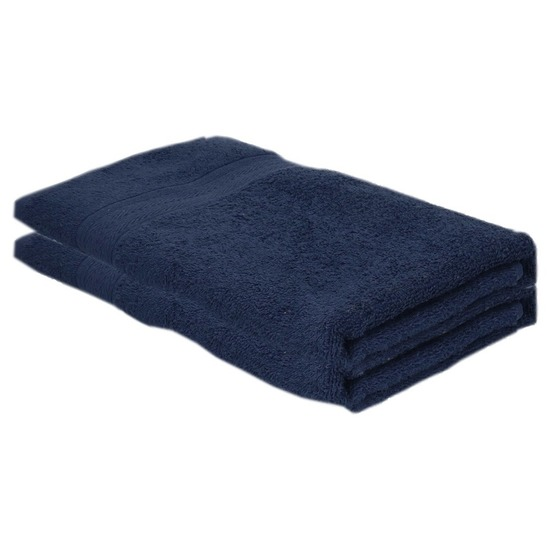 2x voordelige badhanddoeken navy blauw 70 x 140 cm 420 grams