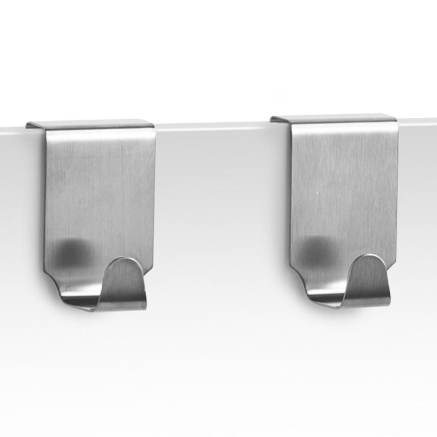2x zilveren handdoekhaken voor keukenkastjes 6 cm