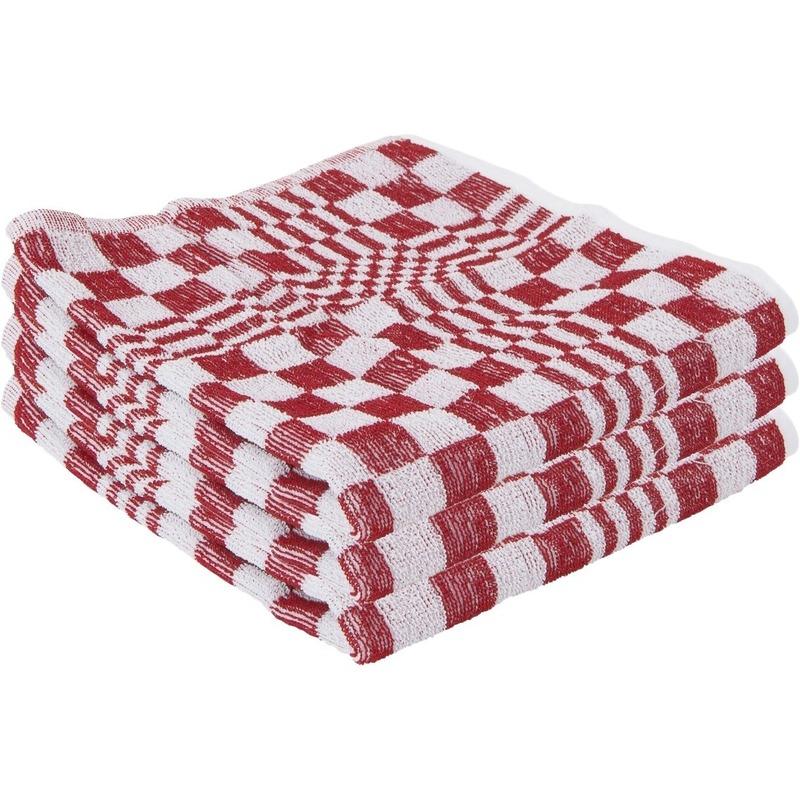 3x handdoek voor in de keuken rood met blokmotief 50 x 50 cm