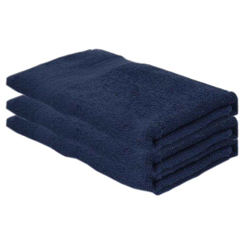 3x voordelige badhanddoeken navy blauw 70 x 140 cm 420 grams