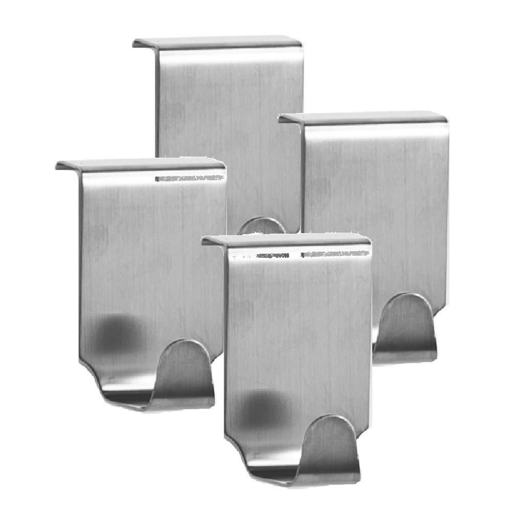 4x zilveren handdoekhaken voor keukenkastjes 6 cm