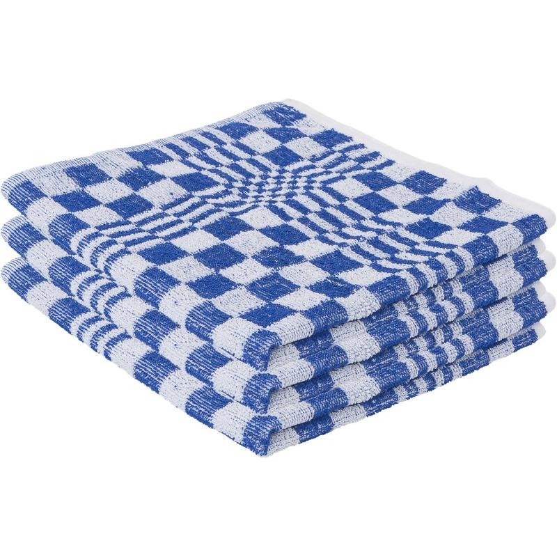 6x handdoek voor in de keuken blauw met blokmotief 50 x 50 cm