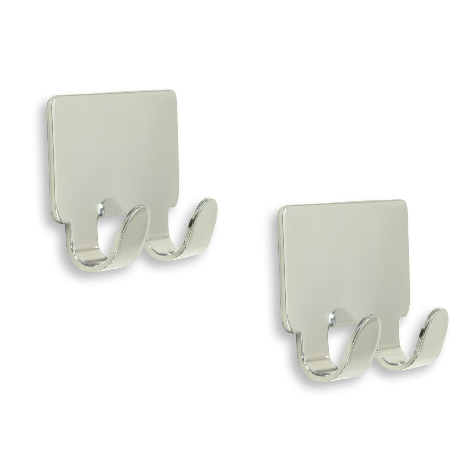 6x luxe plakhaken handdoekhaken vierkant chroom glanzend dubbele haak 4 2 x 7 2 cm