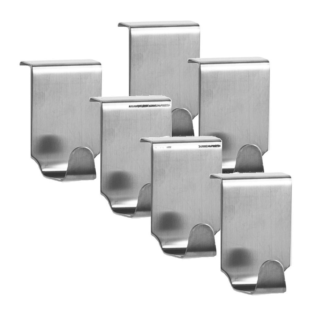 6x zilveren handdoekhaken voor keukenkastjes 6 cm