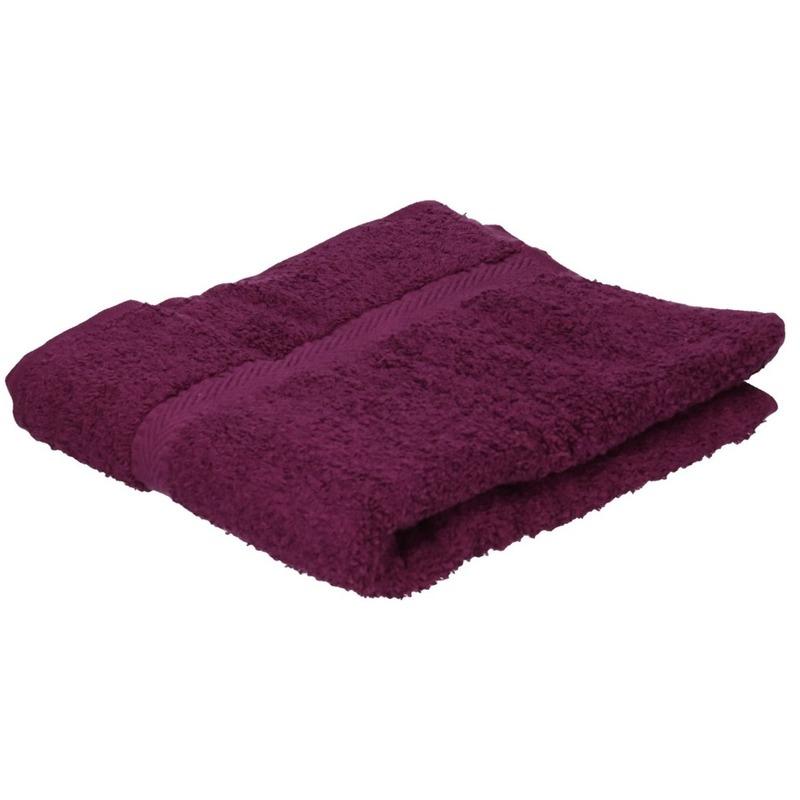 Set van 10x stuks luxe handdoeken bordeaux 50 x 90 cm 550 grams
