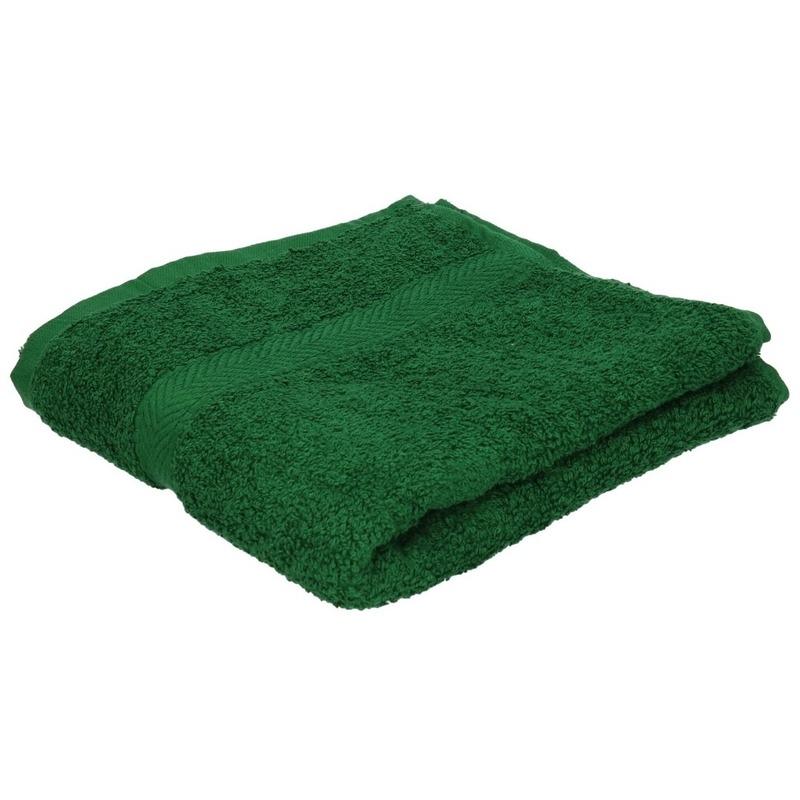 Set van 10x stuks luxe handdoeken donkergroen 50 x 90 cm 550 grams