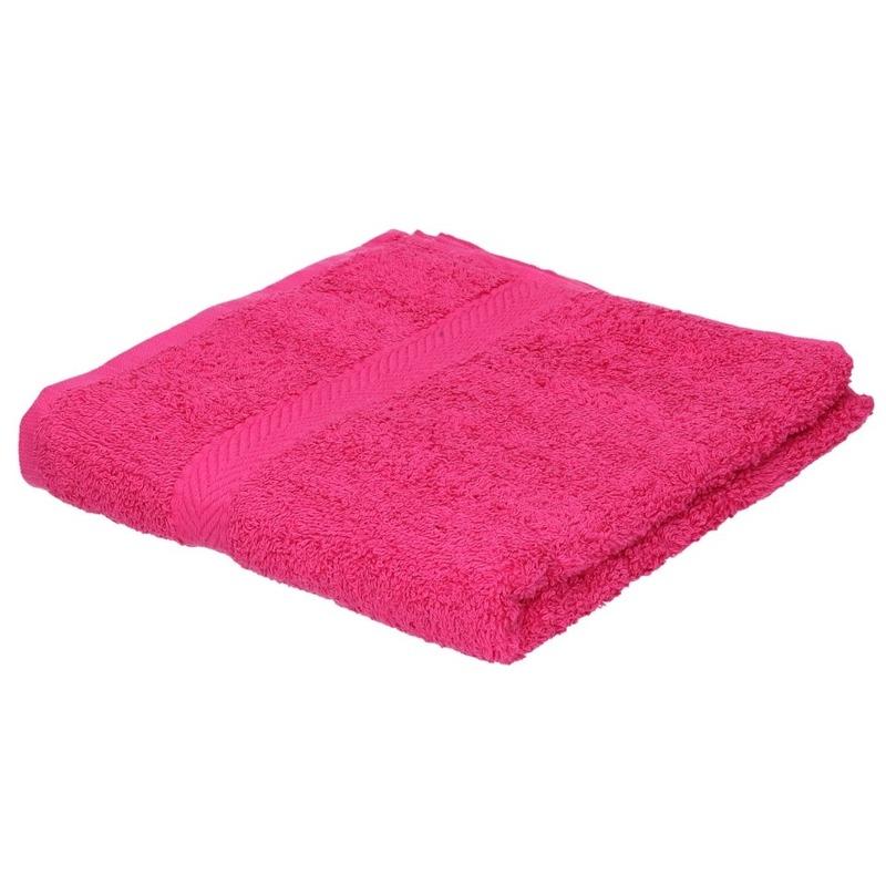 Set van 10x stuks luxe handdoeken fuchsia roze 50 x 90 cm 550 grams