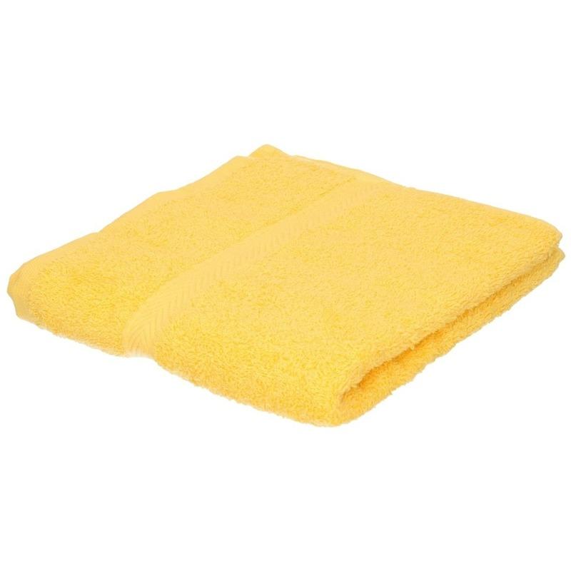 Set van 10x stuks badhanddoeken geel 50 x 90 cm 550 grams