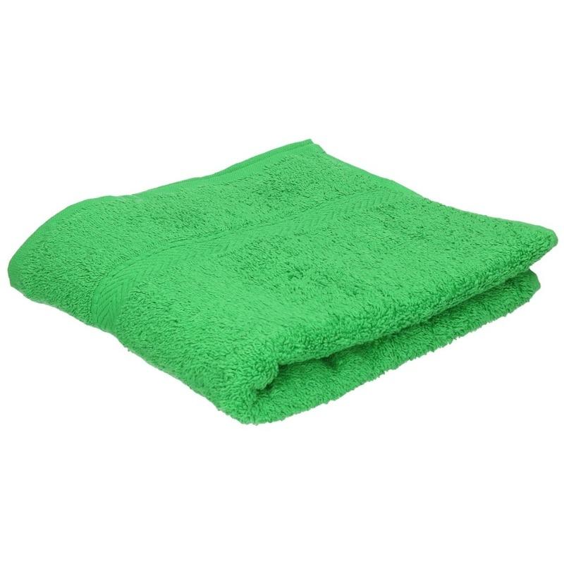Set van 10x stuks luxe handdoeken groen 50 x 90 cm 550 grams