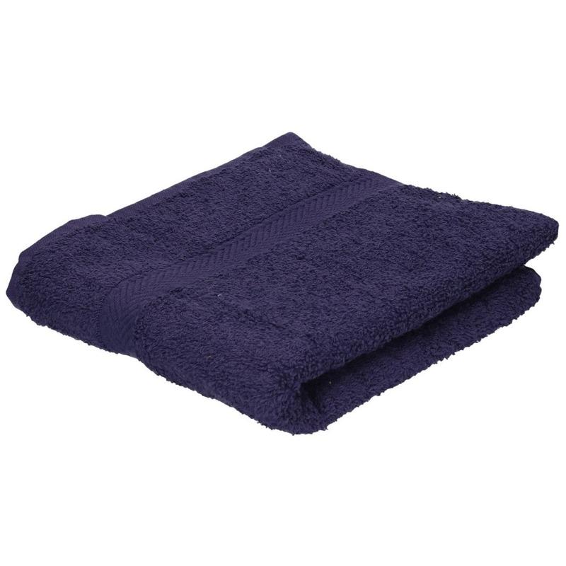 Set van 10x stuks luxe handdoeken navy blauw 50 x 90 cm 550 grams