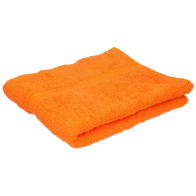 Set van 10x stuks luxe handdoeken oranje 50 x 90 cm 550 grams