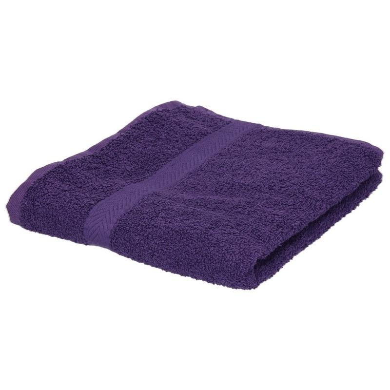 Set van 10x stuks luxe handdoeken paars 50 x 90 cm 550 grams