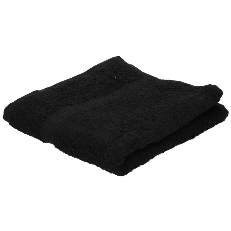 Set van 10x stuks luxe handdoeken zwart 50 x 90 cm 550 grams